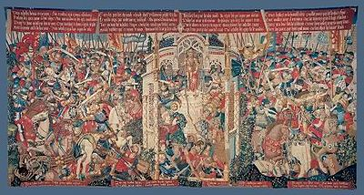 A very busy picture where many figures are shown dressed in late medieval style. In the centre is the temple where Achilles is being ambushed. On either sides are the battles where Troilus and Paris are killed. Scrolls of text are visible above and below the picture, though what is written is not clear.