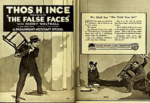 The False Faces - Henry B. Walthall and Lon Chaney (far right) in a 1919 magazine ad