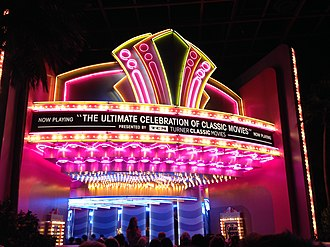 The Great Movie Ride - The neon theatre marquee inside of the 1930s-era Hollywood soundstage at the beginning of the ride.