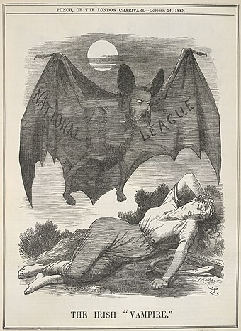 "Political cartoon in Punch magazine from 1885, depicting the Irish National League as the ""Irish Vampire"" preying on a sleeping woman. The Irish Vampire - Punch (24 October 1885), 199 - BL.jpg"