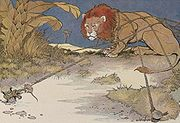 The Lion and the Mouse, illustrated by Milo Winter in a 1919 Aesop anthology