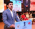 The Minister of State for Youth Affairs and Sports (IC) and Information & Broadcasting, Col. Rajyavardhan Singh Rathore addressing the gathering at the Closing Ceremony of the 22nd National Youth Festival (1).jpg
