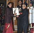 The President, Shri Pranab Mukherjee presenting the Arjuna Award for the year-2014 to Ms. Mamatha Poojari for Kabaddi, in a glittering ceremony, at Rashtrapati Bhavan, in New Delhi on August 29, 2014.jpg