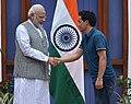 The Prime Minister, Shri Narendra Modi with the Rajiv Gandhi Khel Ratna Awardee of 2016, Indian shooter Jitu Rai, in New Delhi on August 28, 2016.jpg