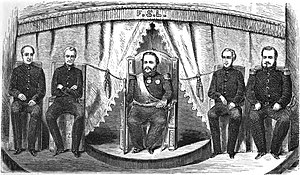 Francisco Solano López - The Throne: López and his Cabinet (from the left to the right: Gonzáles, Sánchez, López, Berges and Venancio López).