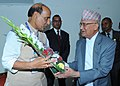 The Union Home Minister, Shri Rajnath Singh meeting the Chairman of Communist Party of Nepal, Shri Khadga Prasad Oli (KP Oli), in Kathmandu on September 19, 2014.jpg
