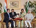 The Vice President, Shri Mohd. Hamid Ansari meeting the President of the Republic of Tajikistan, Mr. Emomali Rahmon, in New Delhi on September 03, 2012.jpg