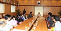 The Vice President, Shri Mohd. Hamid Ansari meeting the Students pursuing Urdu Journalism Course at India Institute of Mass Communication (IIMC), in New Delhi on March 27, 2014.jpg