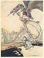 The dragon flew out and caught the queen on the road and carried her away.jpg