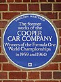 The former works of the Cooper Car Company Winners of the Formula One World Championships in 1959 and 1960.jpg