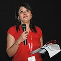 """The journalist Ms. Kishwar Desai briefing about the film """"KARMA' at the presentation, during the 39th International Film Festival (IFFI-2008), in Panaji, Goa on November 28, 2008.jpg"""