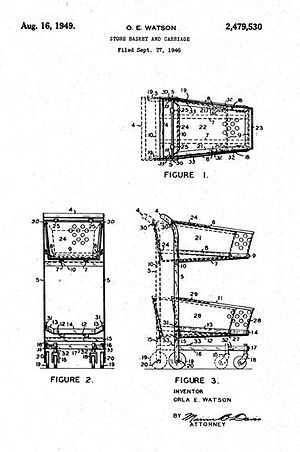 Shopping cart - Original patent documents showing design of the nesting feature of the Telescope Cart.  The rear of the cart swings forward when a cart is shoved into it, hence the nesting feature.