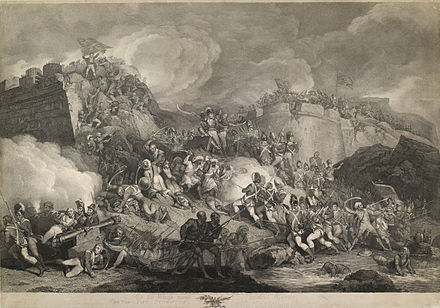 Tipu Sultan's forces during the Siege of Srirangapatna. The storming of Seringapatam - John Vendramini, 1802 - BL P779.jpg