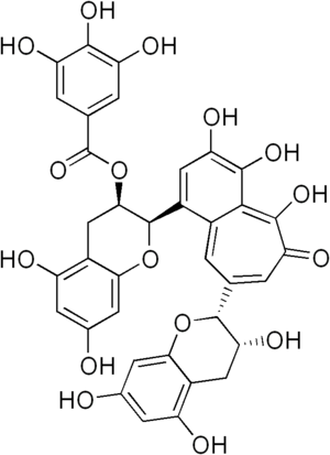 Polyphenol - Theaflavin-3-gallate, a plant-derived polyphenol formed by esterification of two equivalents of gallic acid to a theaflavin core. Note: two of the phenolic hydroxyl groups required to meet the phenol-count criterion of the WBSSH definition points are engaged in ether linkages.