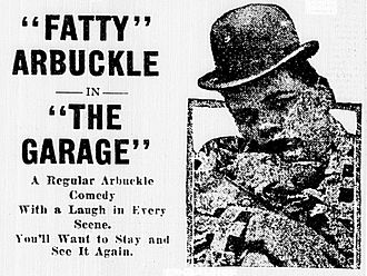 The Garage (1920 film) - Newspaper advertisement for the film.