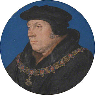 Thomas Cromwell - Thomas Cromwell, portrait miniature wearing garter collar, after Hans Holbein the Younger
