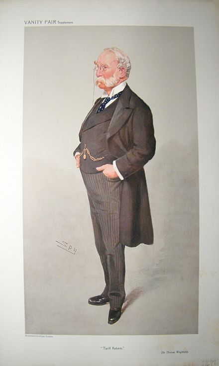 """Tariff Reform"", caricature by Spy in Vanity Fair, 1908. Thomas Wrightson, Vanity Fair, 1908-05-06.jpg"
