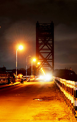 Old Thoppumpady Bridge, at night