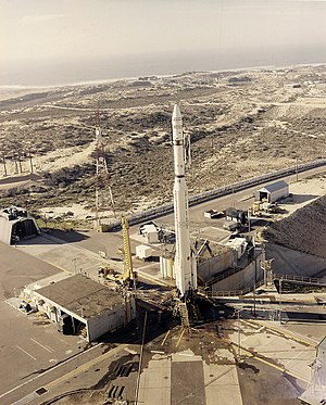 Thor (rocket family) - Thorad-Agena D with SERT-2 satellite at Space Launch Complex 2 East (SLC-2E), Vandenberg AFB, California.