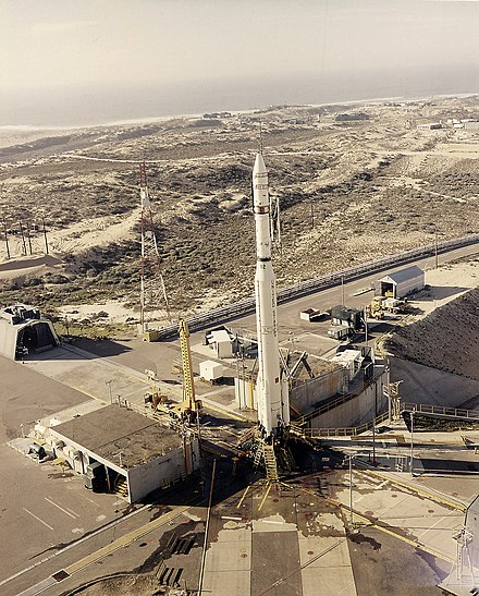 Thorad-Agena D with SERT-2 satellite at Space Launch Complex 2 East (SLC-2E), Vandenberg AFB, California. Thorad Agena with SERT-2.jpg
