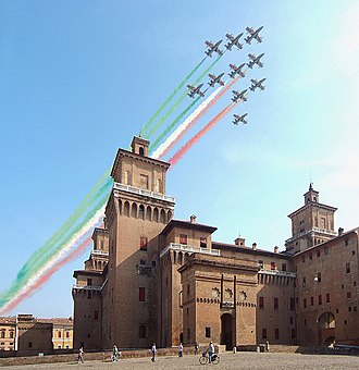 Frecce Tricolori - The Frecce Tricolori above the Estense Castle, Ferrara, Italy.