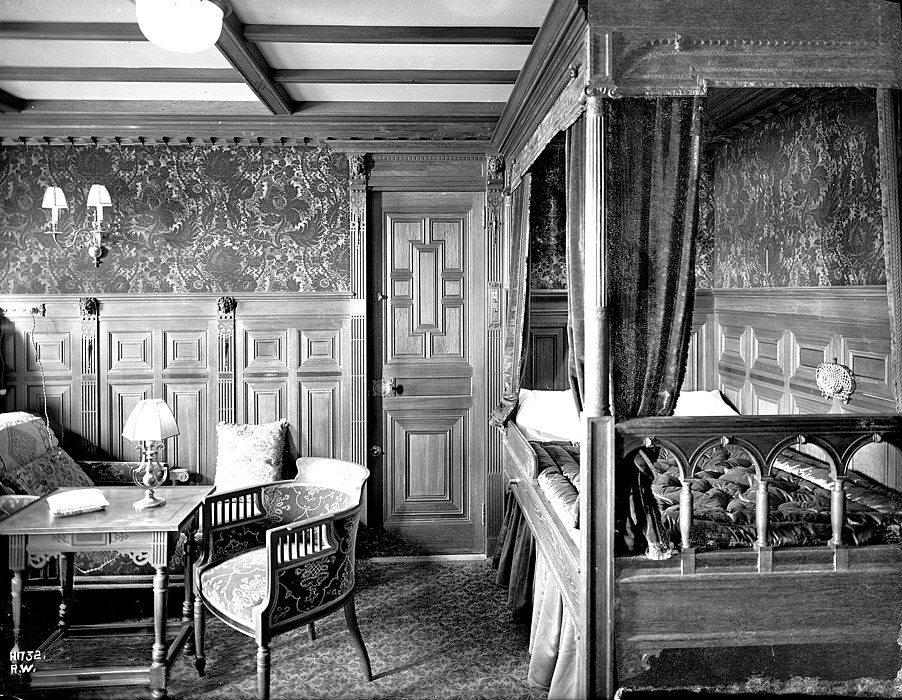 A first-class cabin on board the Titanic in 1912