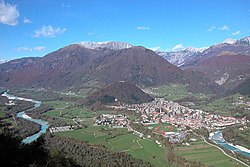 Tolmin, the centre of the municipality
