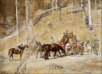 "Cobb & Co - Tom Roberts' 1895 painting ""Bailed Up,"" painted near Inverell, NSW"