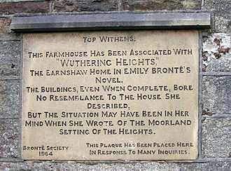 Wuthering Heights - Brontë Society plaque at Top Withens
