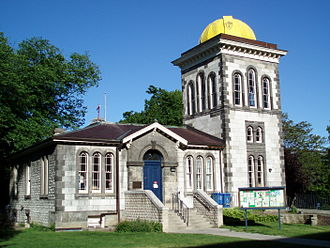 Toronto Magnetic and Meteorological Observatory - The observatory in 2009, looking east-southeast. Offices on the ground floor have been rotated; the entrance was formerly to the right of the tower.