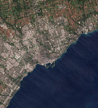 Satellite image of Toronto and surrounding area. Urban areas of the city are interrupted by the Toronto ravine system. Toronto by Sentinel-2.jpg