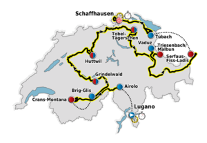 The route of the 2011 Tour de Suisse