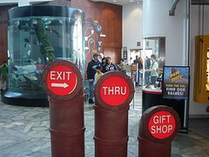 Tourist trap - Directional signs to the gift shop and exit (Must go through the gift shop to get to the exit) Ripley's Aquarium, Myrtle Beach SC