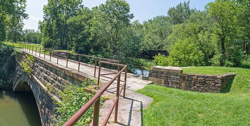 Town Creek Aqueduct with abandoned Western MD RR bridge in background on C and O Canal