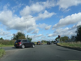 A166 road - Image: Traffic at A64 Junction