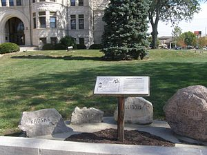Potawatomi Trail of Death - Potawatomi Trail of Death historic marker in front of the Fulton County Courthouse in Rochester, Indiana.