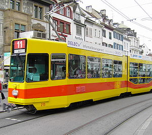 Trams in Basel - A BLT tram in Basel.