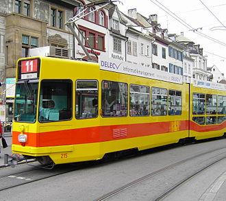 Trams in Basel - A BLT tram in Basel.