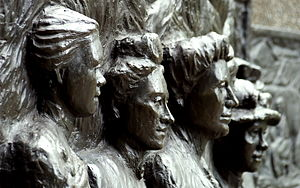 First-wave feminism - Tribute to the Suffragettes memorial in Christchurch, New Zealand. The figures shown from left to right are Amey Daldy, Kate Sheppard, Ada Wells and Harriet Morison