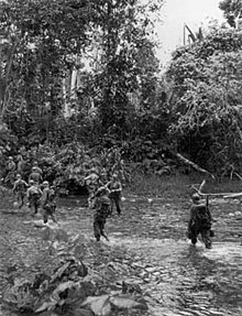 Soldiers wearing helmets wade across a stream