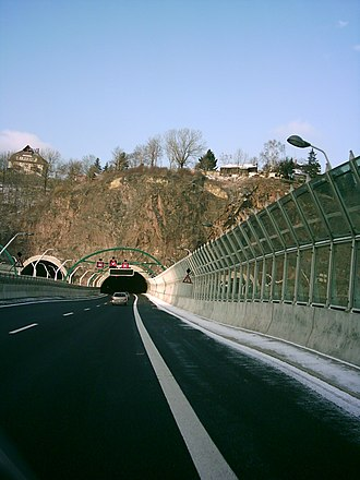 Bundesautobahn 17 - Tunnel bridge combination crossing the Weißeritz valley