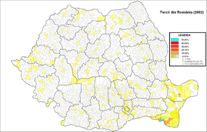 Turks of Romania - Distribution of Turks in Romania (2002 census)