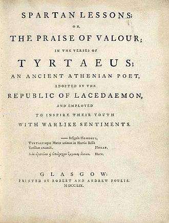Tyrtaeus - Tyrtaeus Spartan Lessons; Glasgow: Robert and Andrew Foulis, 1759 (title-page)