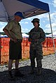 U.S. Army Capt. Elizabeth Dannals and Paul A. Stull, a Boy Scouts of America public health team member, work a health screening checkpoint for the Boy Scouts of America national jamboree in Mt 130715-A-JR559-002.jpg