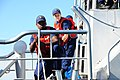 U.S. Coast Guard Fireman Devon Dukes and Fireman Apprentice Jaiden Barnhart, both with Coast Guard Station Oswego, N.Y., participate in a training exercise aboard a 47-foot Motor Lifeboat in Lake Ontario, N.Y 130725-G-AW789-134.jpg