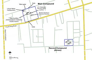 2012 Benghazi attack - Map of the U.S. mission main compound and annex