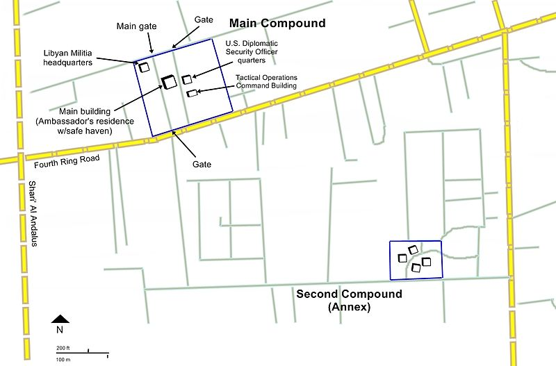 Map of the U.S. mission main compound and annex U.S. mission and annex map for 2012 Benghazi attack.jpg