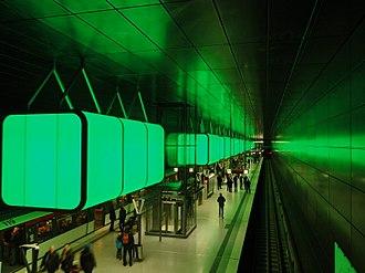 HafenCity Universität (Hamburg U-Bahn station) - Image: U4 Hafen City Universität (grün)