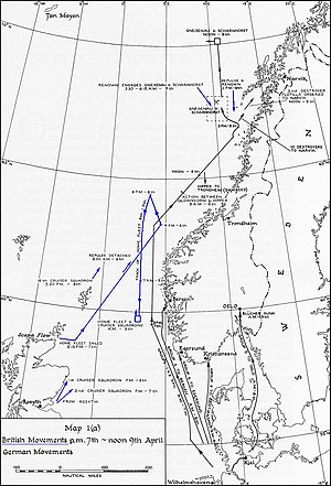 Norwegian Campaign - German and British naval movements from 7–9 April