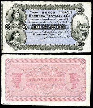 10 peso Uruguay banknote from 1873